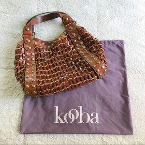 Kooba Brown Studded Woven Leather Bag